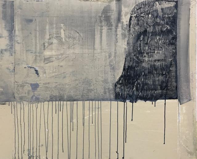 "Mountain as hood,  2016. Acrylic, acrylic polymer and graphite on wood panel. 40""x48"""