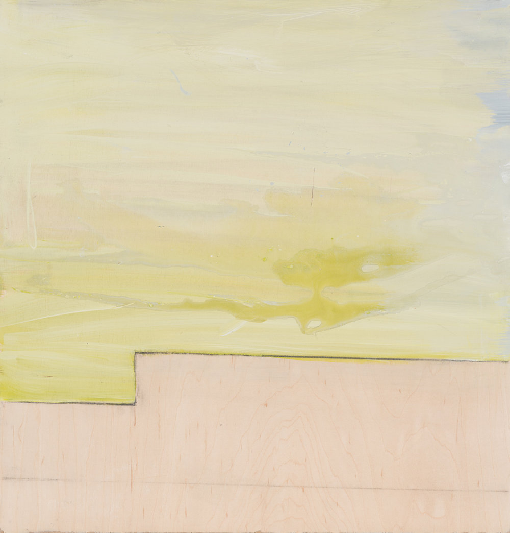 "Wall and green sky , 2016. Acrylic on wood panel. 18-3/8""x17-3/5"""