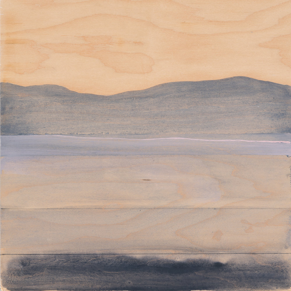 "Landscape with veneer sky , 2016. Acrylic and graphite on wood panel. 13-1/4""x13"""