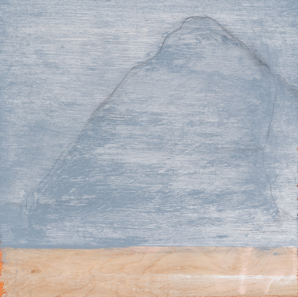 "Mountain after a Chinese painting , 2016. Acrylic and graphite on wood panel. 10""x10"""