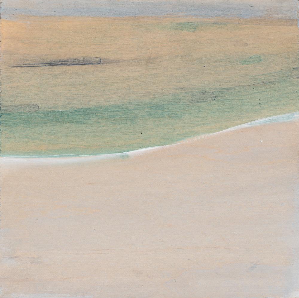"""Landscape (shoreline) , 2016. Acrylic on wood panel. 9-3/4""""x9-3/4"""""""
