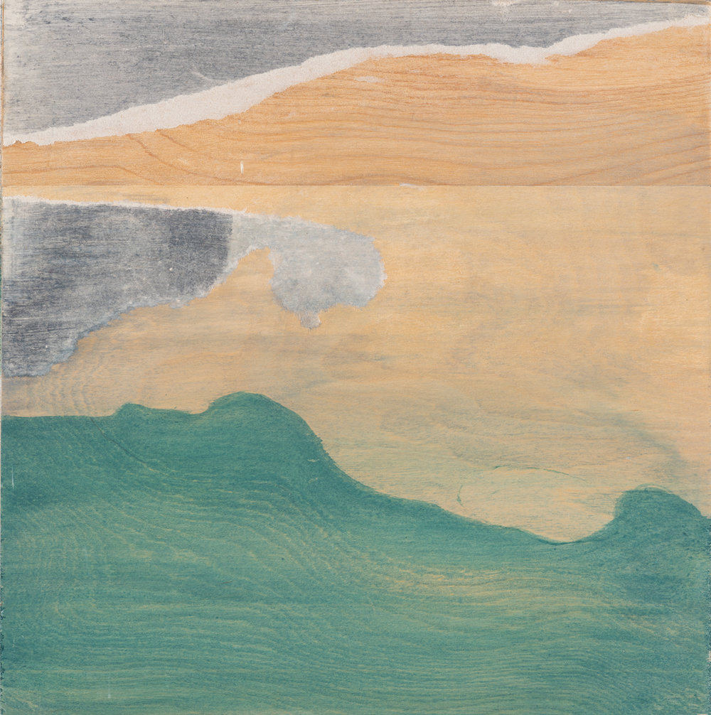 "Landscape with the sea , 2016. Acrylic on wood panel. 9-3/4""x9-1/2"""
