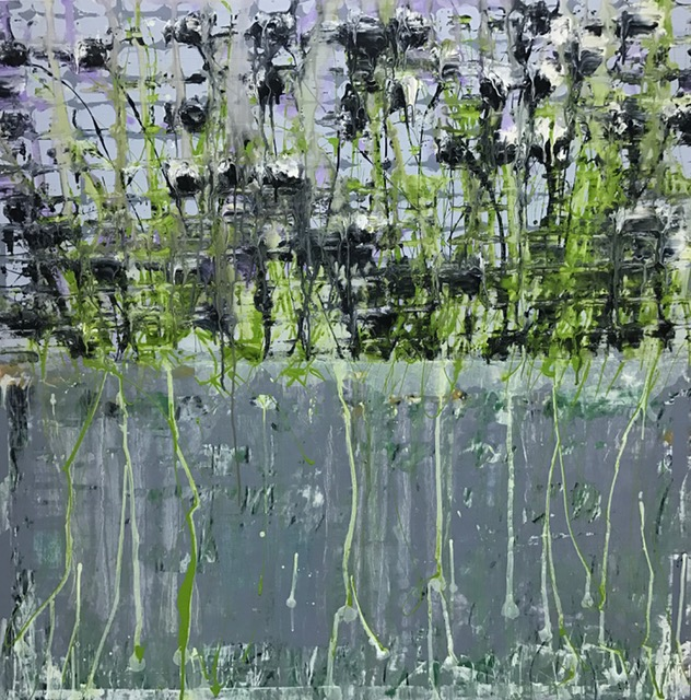 """Sky and weeds and pond,  2017. Acrylic and acrylic polymer on wood panel.  48""""x48"""""""