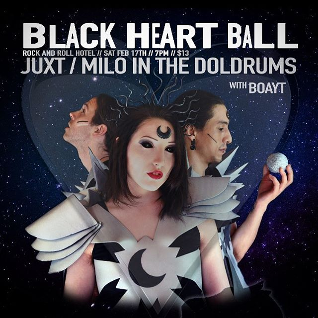 Check-in to @rocknrollhotel Saturday February 17th for the 🖤Black Heart Ball🖤  A special night for all you lonely love birds to forget about your solo status and instead fill yourselves with sweet gooey sounds that stick to the soul and beat your black heart back to life. Who knows you might just meet the band of your dreams! Doors @7pm // $13 @boaytband @milointhedoldrumsmusic @juxtband Tickets in bio #antivalentinesday #dcmusic #rocknroll #love 📷@sweetchloroform
