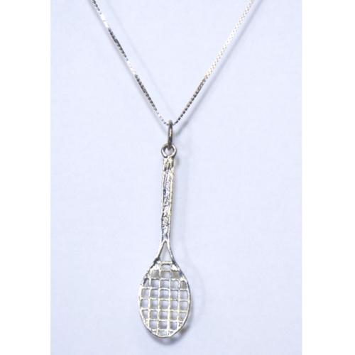 Silver necklace with racquet pendant love tennis dallas silver necklace with racquet pendant tennis racquet necklace aloadofball Choice Image