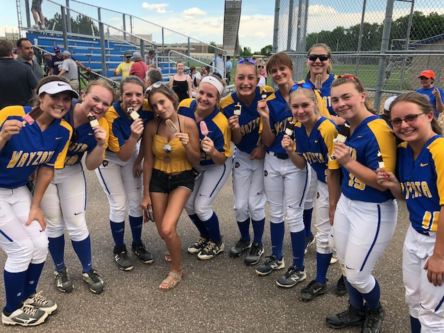 Wayzata Varsity Softball team enjoying JonnyPops after big win!