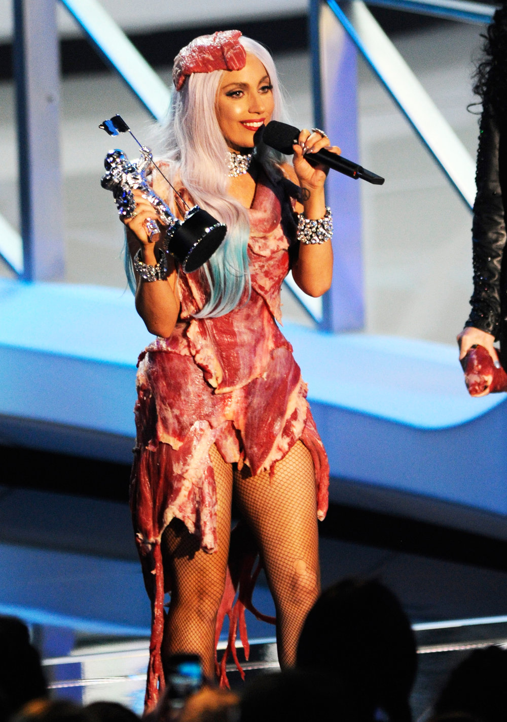 Lady Gaga accepts award from Cher on stage at the 2010 MTV Video Music Awards held at Nokia Theatre L.A. Live on Sept. 12, 2010 in Los Angeles.
