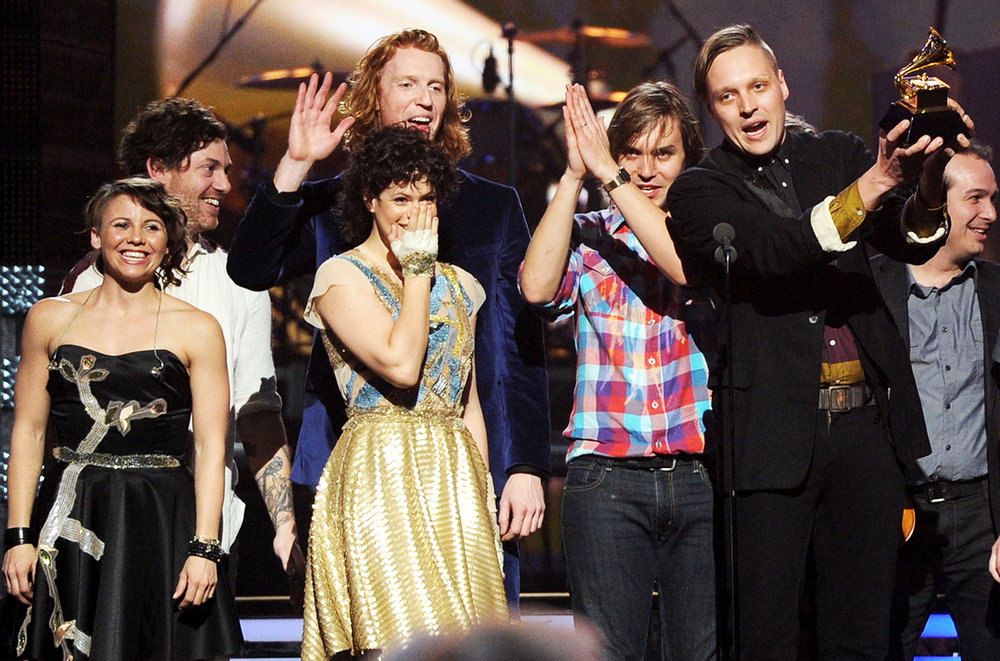 Arcade Fire accepts an award onstage during The 53rd Annual Grammy Awards held at Staples Center on Feb. 13, 2011 in Los Angeles.