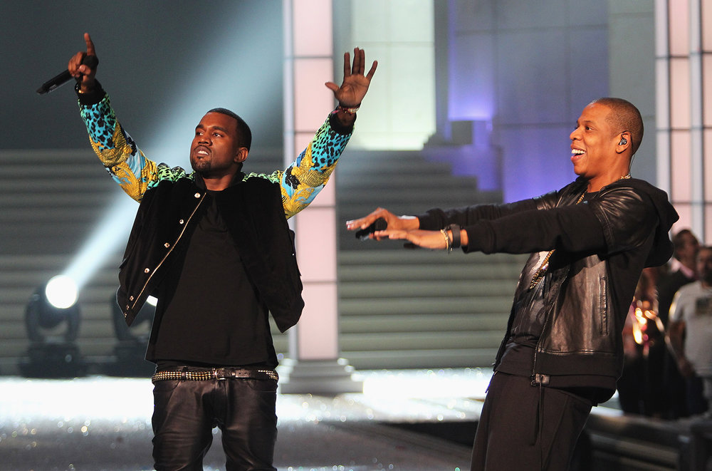 Kanye West and Jay-Z performs during the 2011 Victoria's Secret Fashion Show at the Lexington Avenue Armory on Nov. 9, 2011 in New York City.