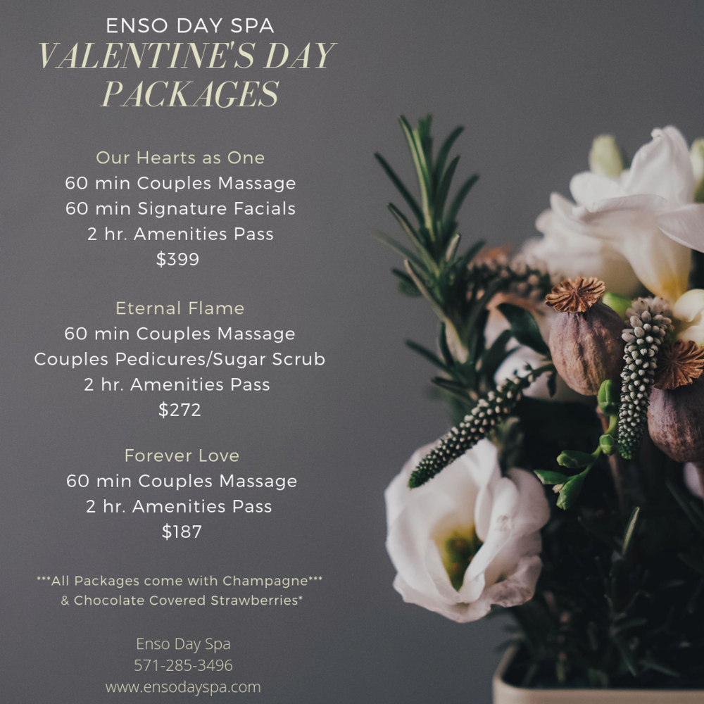 Take advantage of our Valentine's Day Packages or Gift Cards!