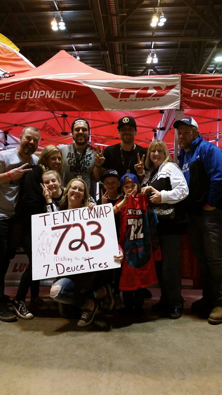 The entire family was more than thrilled with the experience.  They all got a chance to take a peek from behind the curtain and got star treatment from the TCE staff and the riders.  They got a chance to walk away with awesome freebies and even a signed 7-2-2 jersey!  Both Adam and Tyler loved meeting Owen and his family and making lasting memories the entire day.