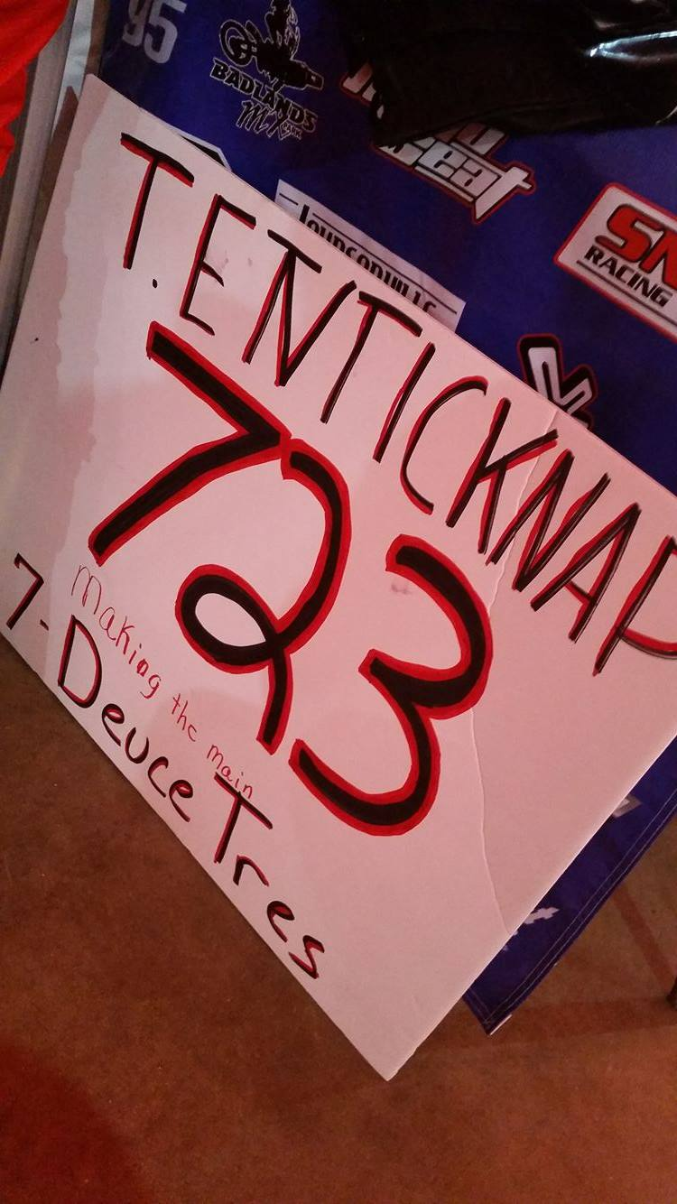 "Owen also made a custom sign for Tyler ""Seven-Duece-Tres"" Enticknap."