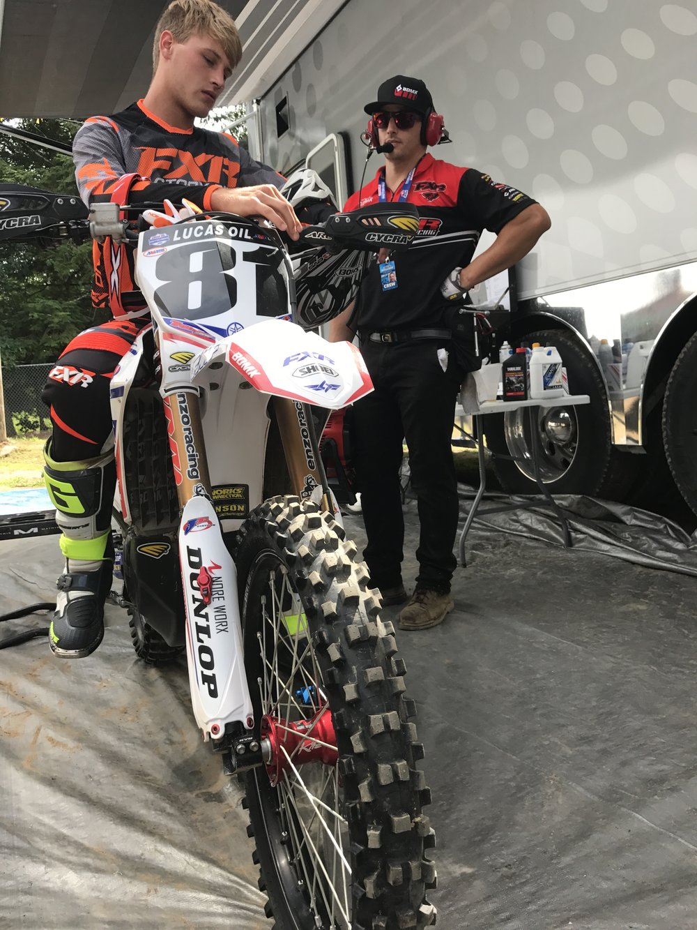 Henry Miller and his mechanic Chas of Triggr Racing get ready for another Moto.  This past weekend at Southwick this team was able to score a top 10 finish and ended out the day with 9th overall.  Not bad for a small privateer team.  Everyone at TCE is excited to see more amazing finishes and races out of these guys!