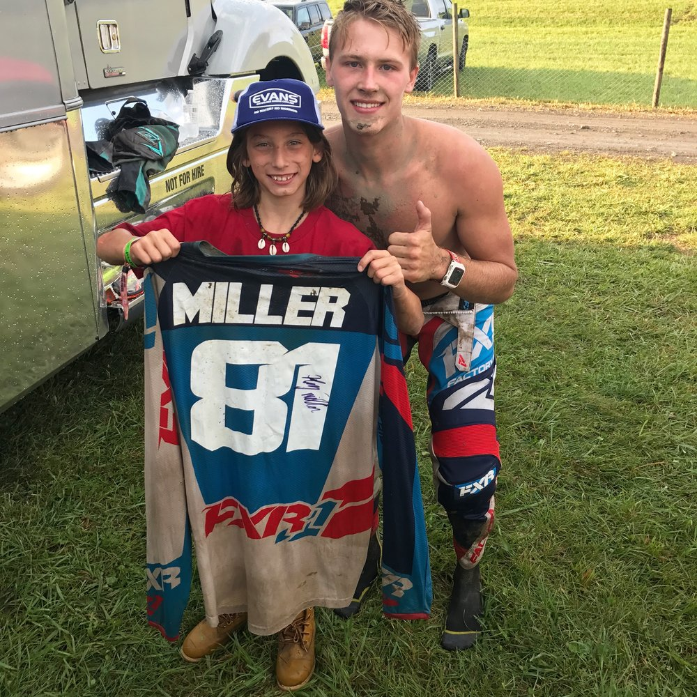 Henry made a lucky fans dreams come true at Unadilla.  Ben was the winner of our   TCE MX Fan Experience   giveaway presented by The Motohub.  Ben got the star treatment from Henry and the team and even got a chance to walk away with some killer swag! Ben had more free stuff than he could carry courtesy of Rutted Racing, TCE, and the great folks at FXR Racing.  Check out the sweet signed FXR jersey that he snagged from Henry, complete with a signature.