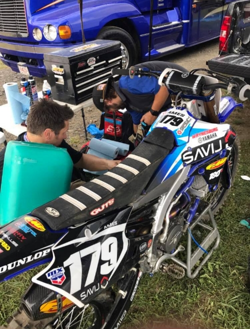 Chad Sanner works with Jon-Jon Ames' mechanic Justin Kahabka to keep the Savij tuned Waynesburg Yamaha machine running in tip top form.  Each week these guys go over the bike in fine detail to make sure Jon-Jon has what he needs to get the job done.