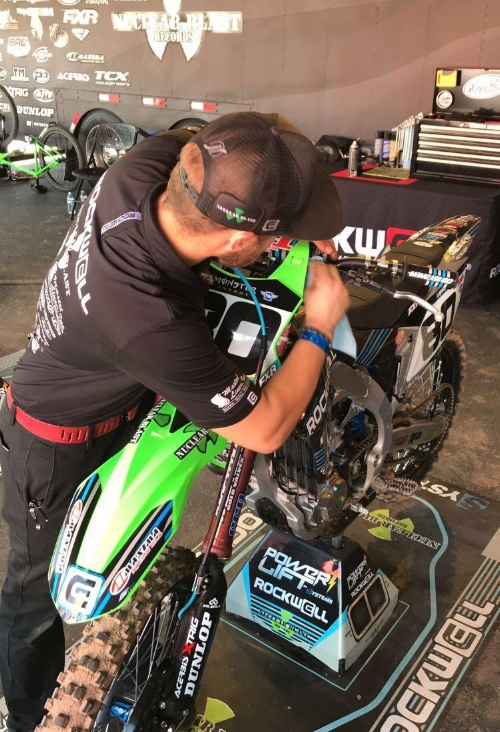 Derrick pours tons of effort and long hours into AJ's bike.  No detail is too small when working with athletes at these level.