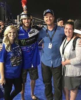 Jake is usually one of the first people that riders shout out and acknowledge.  Here Jake and his wife spend time with the 2018 West Coast 250 SX Champion!