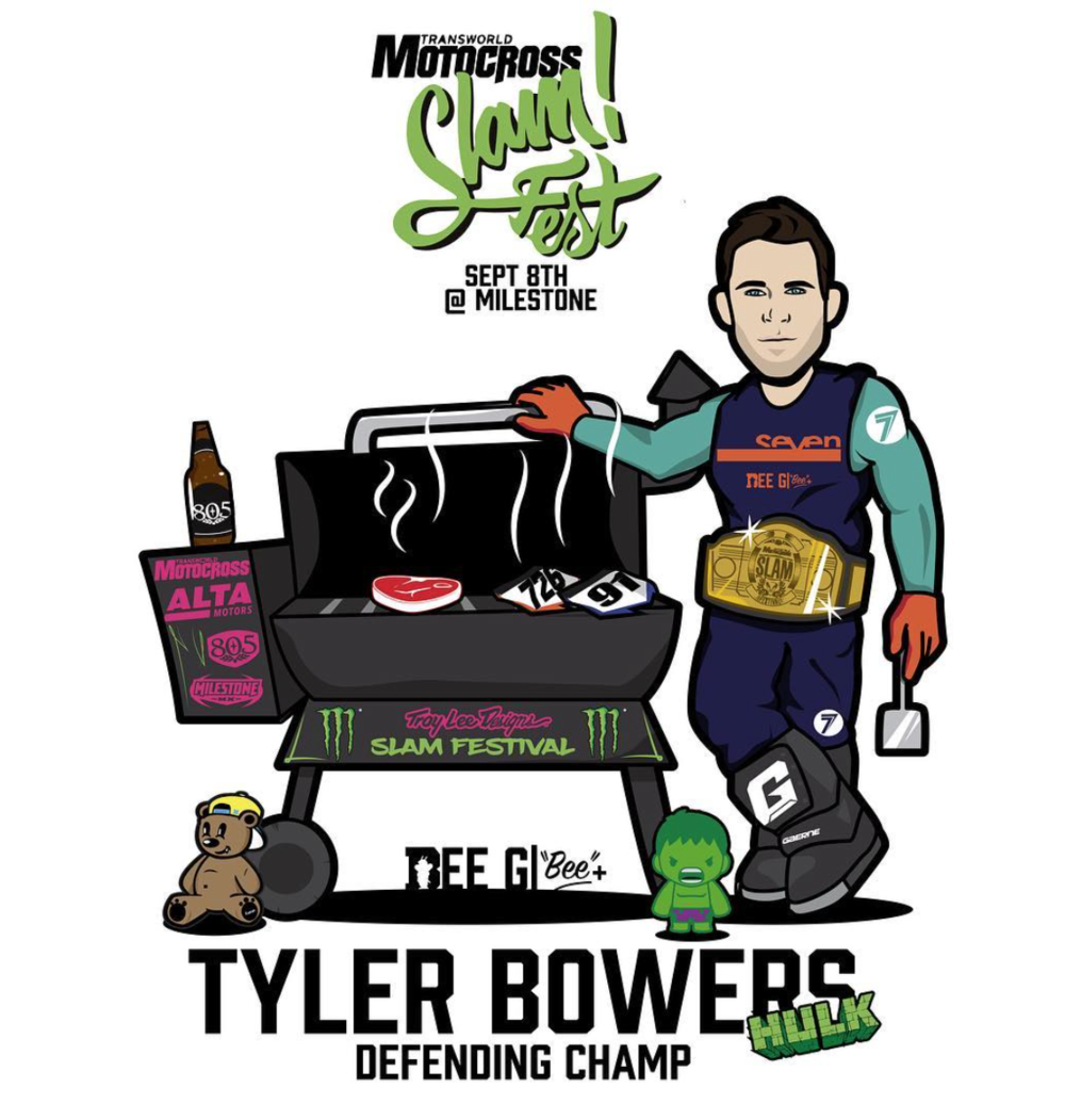 Awesome character drawings like this one of 2018 TCE SX rider Tyler Bowers are some of Bee G's most popular collections. Riders go nuts for these as they are totally unique and seem to highlight their personalities.