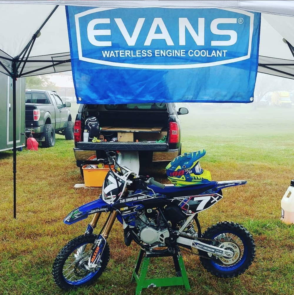 Evans is big on support! From the fastest Supercross pros all the way down to the little amateur groms, they want to help spread the word and benefits of waterless coolant to everyone.