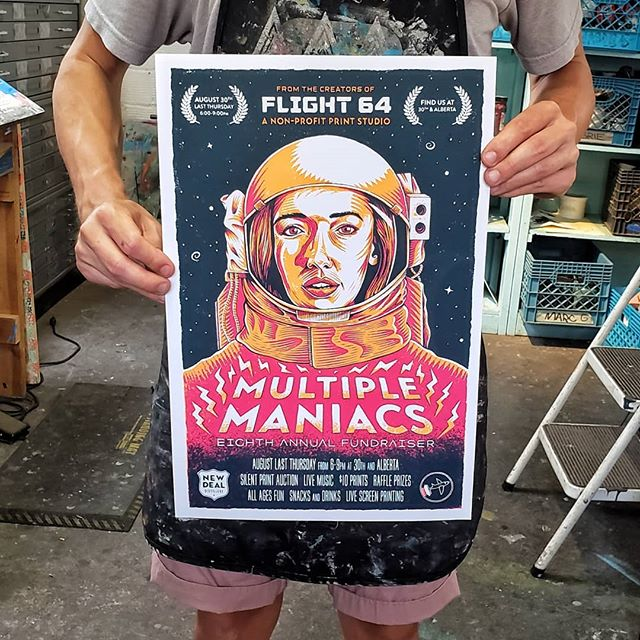 The poster for @flight64studio's 8th Annual Multiple Maniacs Fundraiser! ⠀⠀⠀⠀⠀⠀⠀⠀⠀ 🚀Join us for the Last Thursday Alberta Art Fair on August 30th and help the only member run non-profit print studio in Portland continue providing an affordable printmaking space and community classes for the masses. ⠀⠀⠀⠀⠀⠀⠀⠀⠀ 🚀We've got live printing, live music, live art, a silent print auction, raffle prizes galore, $10 prints, snacks and delicious drinks from @newdealpdx. It's a party ya'll! ⠀⠀⠀⠀⠀⠀⠀⠀⠀ 🚀It's all happening 6-9pm at 30th and Alberta right behind @tcolearys, so make your way down the questionable alleyway to this special little print studio we call home. Help us thrive in our 15th year of printing in Portland! WOOOOP WOOOP! ⠀⠀⠀⠀⠀⠀⠀⠀⠀ 🚀Thanks to all of our friends at @communitycyclingcenter, @albertarosetheatre, @collagepdx, @untappedpdx, Hobnob Grille, @bellapizzapdx, @porquenotaqueria, @newdealpdx and @elephantsdeli for your generous donations! ⠀⠀⠀⠀⠀⠀⠀⠀⠀ 🚀Thanks to @levelheadedpress for the films and @wildjaychild for the print assistance! ⠀⠀⠀⠀⠀⠀⠀⠀⠀ #printmaking #pdxart #screenprint #woodcut #etching#letterpress #portland #pdxevents #pdx #lastthursday
