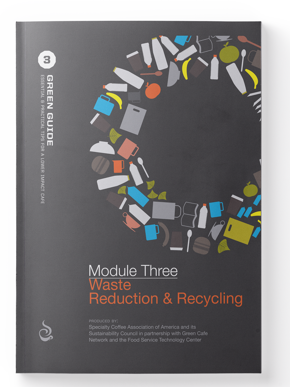 SCAA Green Guide, Module 3 - Waste Reduction  Module 3 offers cafe owners cost-effective strategies to curb the amount of waste their café's produce. Tips cover performing a waste audit, developing a plan, engaging your staff in the effort, recycling, composting, and much more.   Buy Now    Member Access