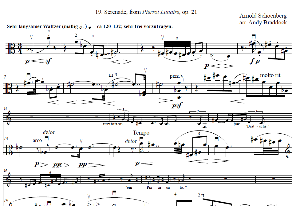 Arnold Schoenberg - 19. Serenade, from Pierrot Lunaire, op. 21Arranged for sprechstimme, piano, and viola by Andy Braddock