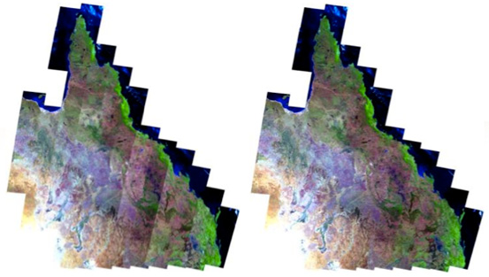 Sensor reflectance of Landsat imagery before bi-directional correction (left). Sensor reflectance after correction to nadir view and 45 degree sun elevation (right).