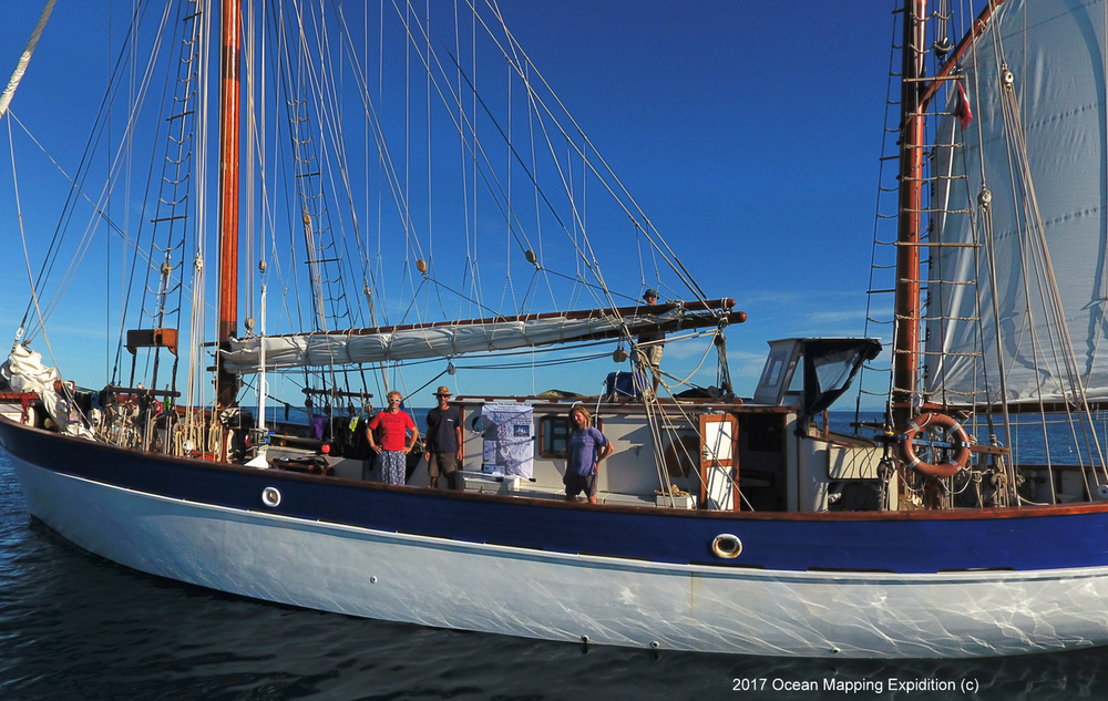 The Swiss mv Fleur de Passion, originally a German mine sweeper rebuild to a sailing vessel, sails around the world as part of the Ocean Mapping Expedition to map underwater sound and plastics.