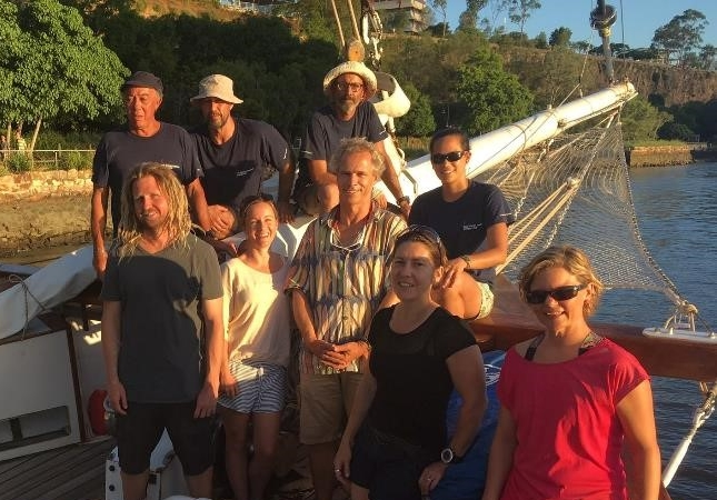 Left to right: Yves Plébert (Crew), Pietro Godenzi (Skipper), Crew, Peran Bray (UQ RSRC), Kathryn Markey (UQ RSRC), Chris Roelfsema, Candy Aeschlimann (Crew), Eva Kovacs and Brea Vincent (UQ RSRC).