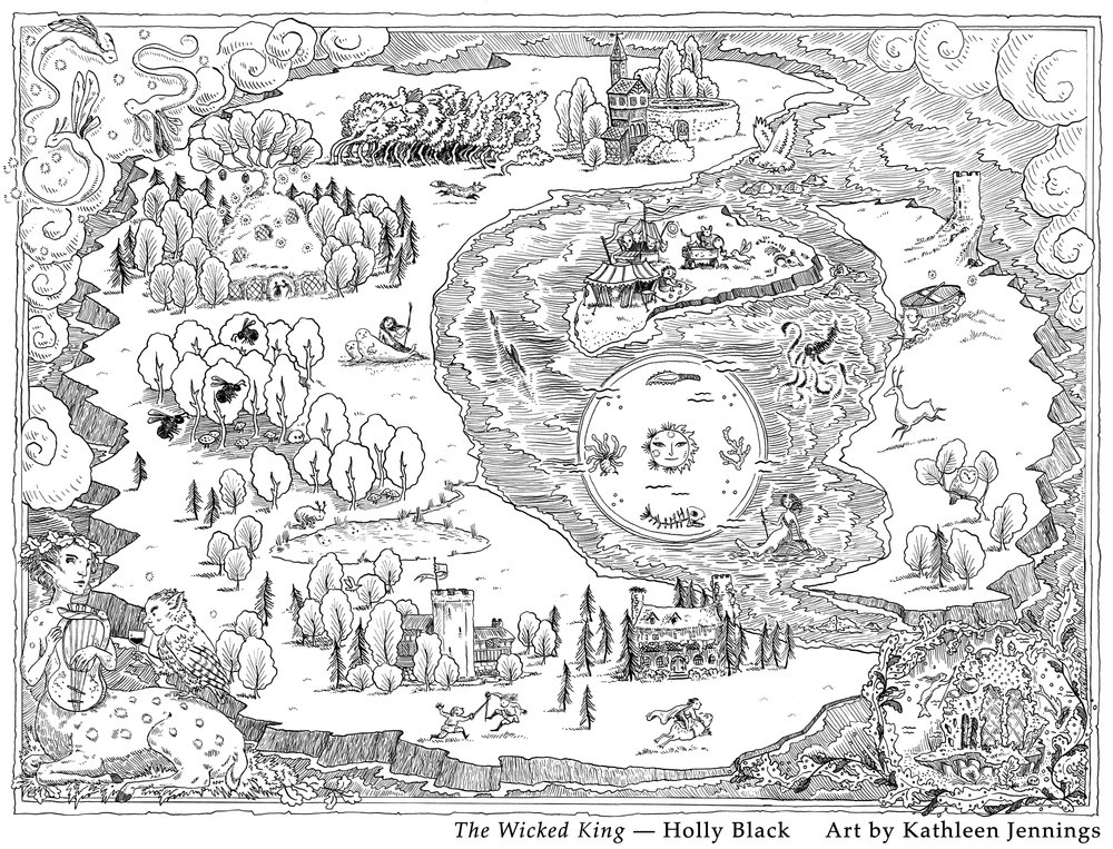 Map for  The Wicked King , by Holly Black. Little, Brown 2019.
