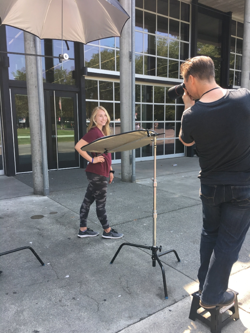 John Ulman photographing my audition prep student at Seattle Center.