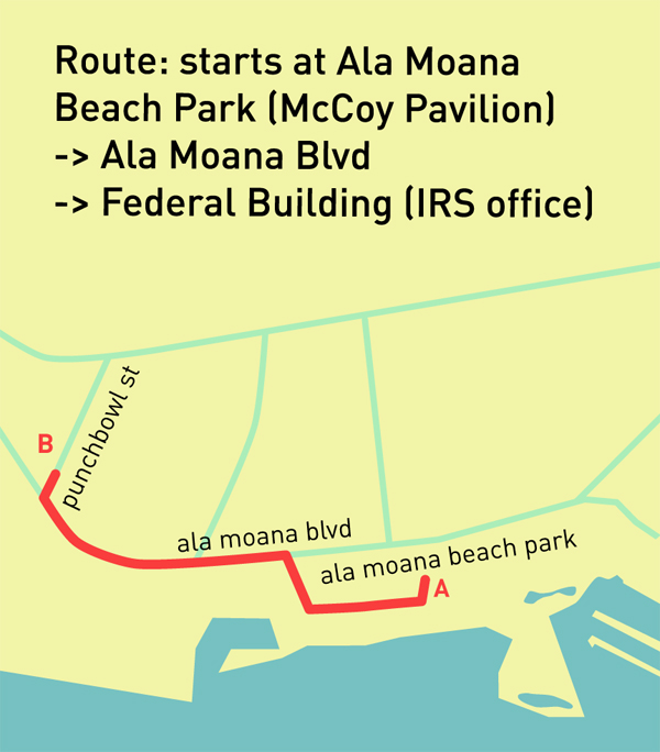 Route : Ala Moana Beach Park McCoy Pavilion -> Ala Moana Blvd -> Federal Building (IRS office)