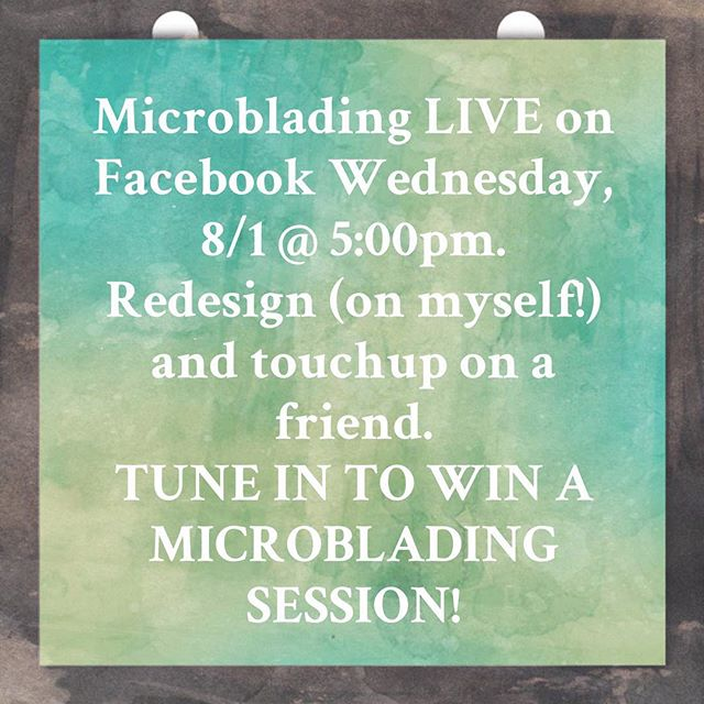 I'll be going live tomorrow with a microblading redesign (full procedure) on myself and a touchup on a client and dear friend!  We'll be here to take you through all of the steps and to answer any questions you may have before deciding whether microblading is for you! Tune in on our Facebook page at 5pm tomorrow (Wednesday, 8/1) to join in and to find out how to win a FREE MICROBLADING SESSION!