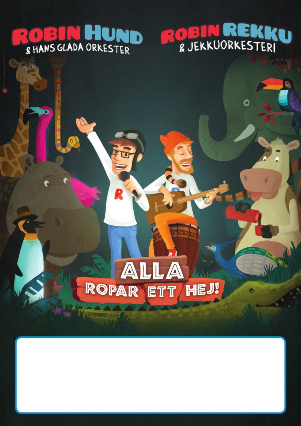 Robin Rekku & Jekkuorkesteri kaksikielinen juliste Robin Hund & Hans glada orkester tvåspråkig affisch