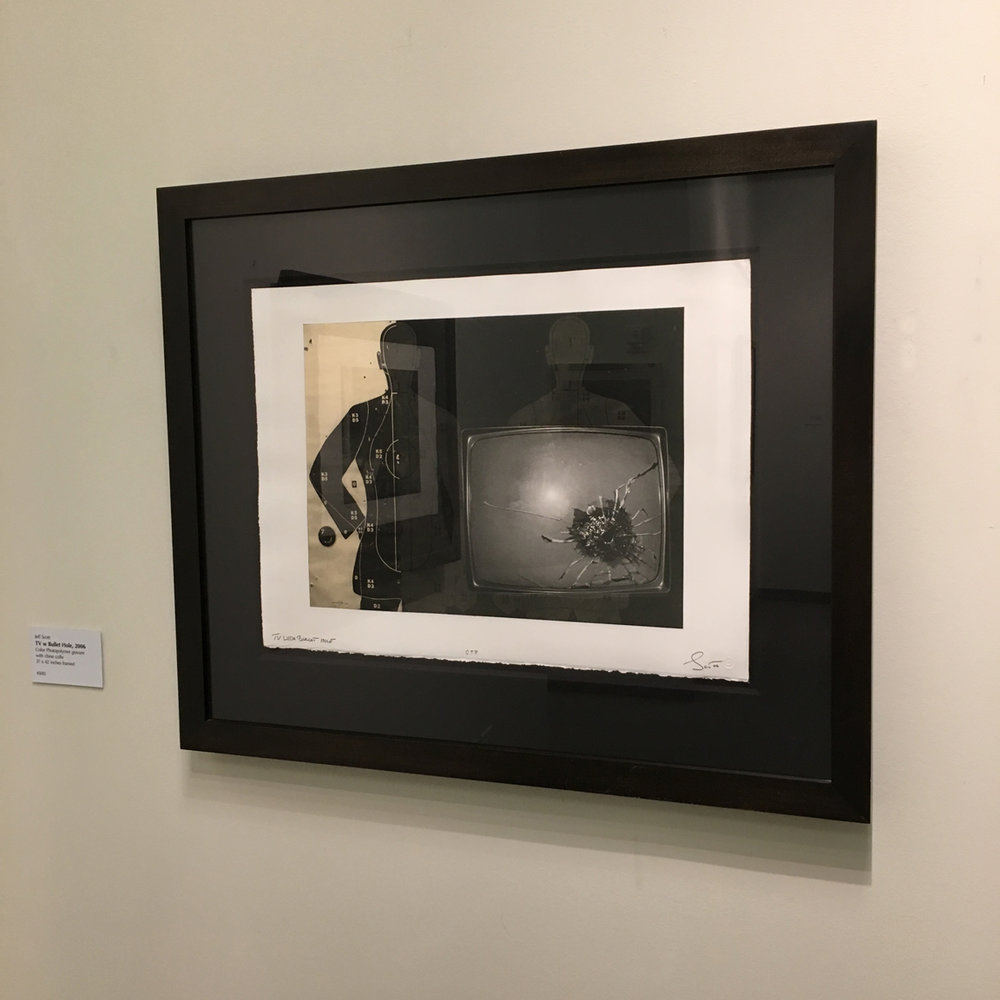 TV with Bullet Hole, 2006 photo-polymer gravure with chine colle