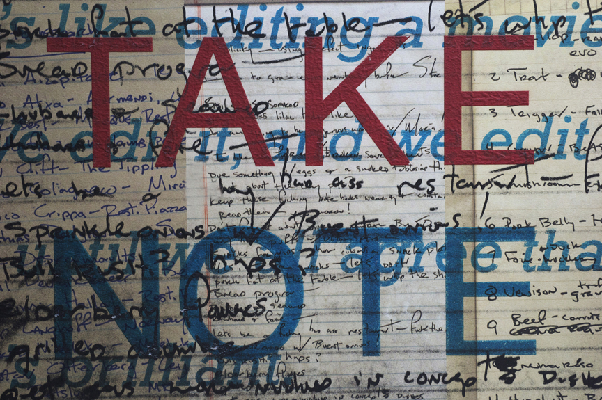 Take Note ( diaries ), 2009 photo-polymer gravure with chine colle