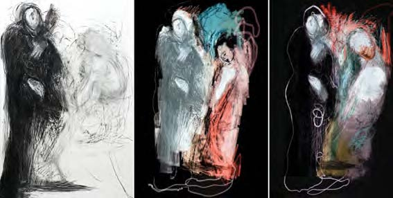 Kellie O'DEMPSEY  Act 1  2012, mixed media on paper, digital projection, 200cm x 140cm