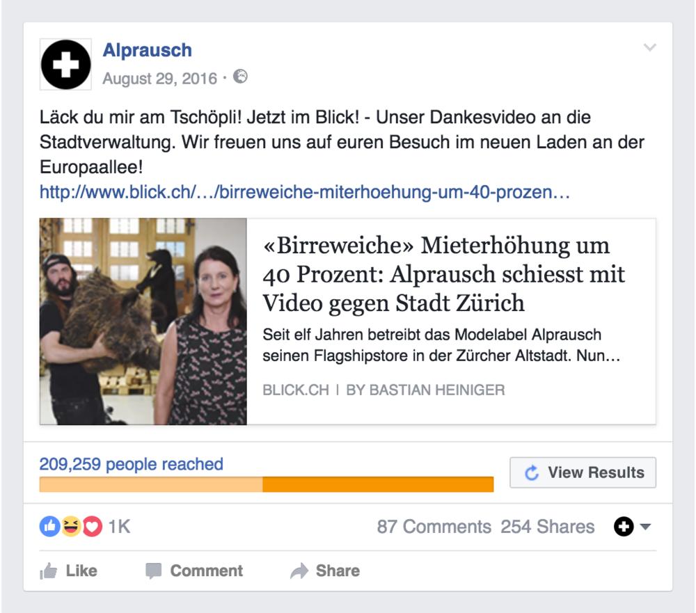 Der Facebook Post zum Blick-Artikel erreichte über 200'000 User!