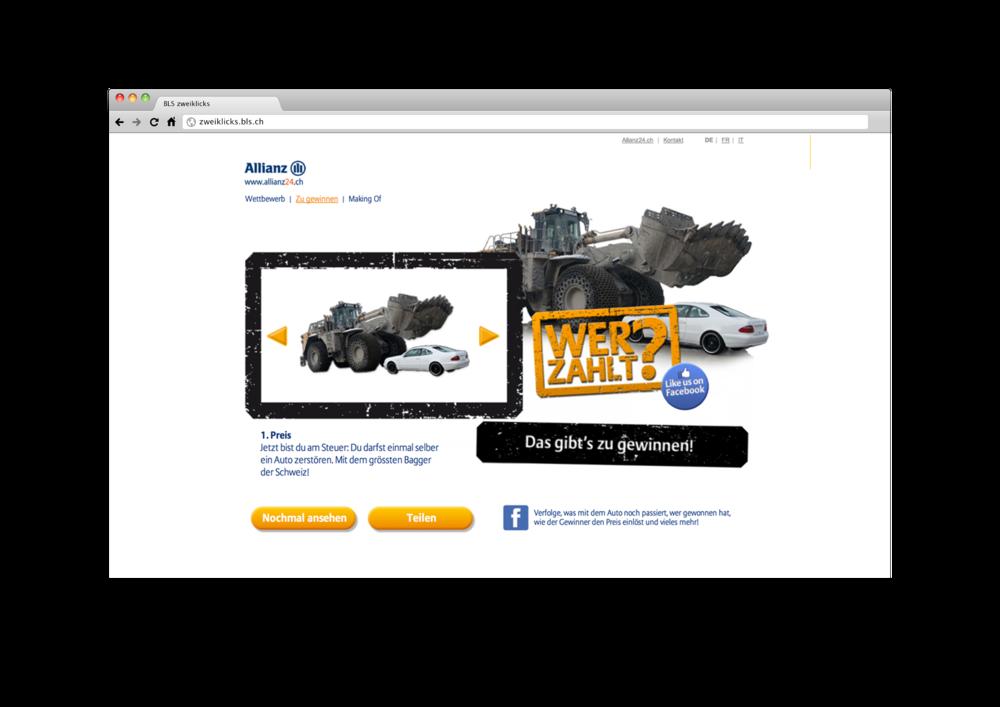 Die Kampagnenseite mit Wettbewerb