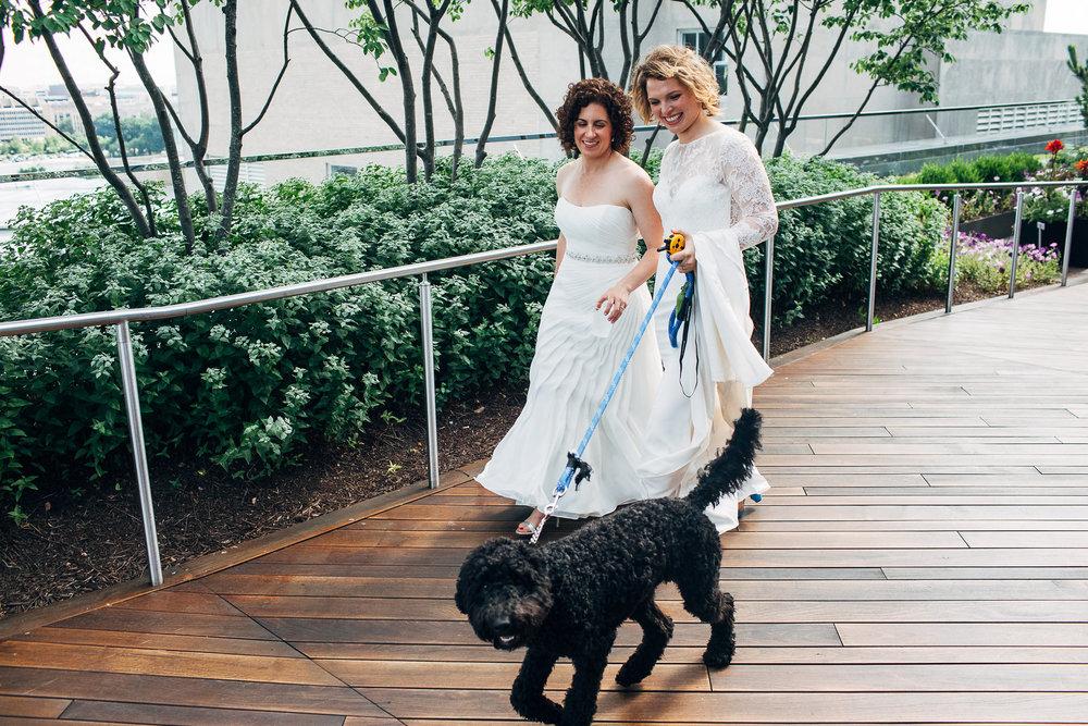Engaged couple at wedding celebration, with dog on leash