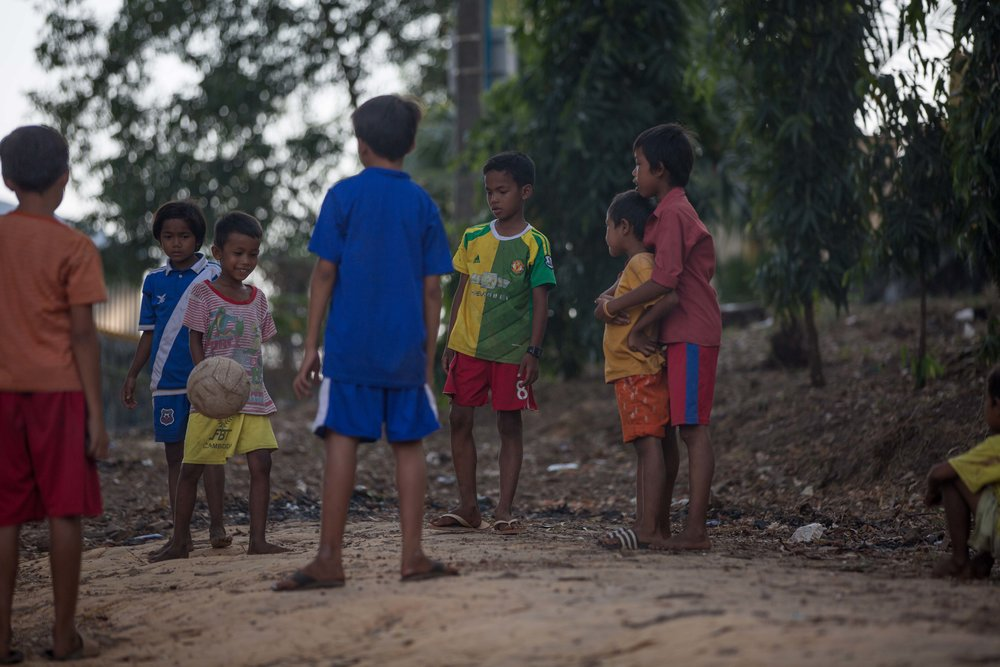 The kids love to play soccer. Mong coaches a boys team in a different town but wants to start a girls team in the village. Photo: Gina Orlando