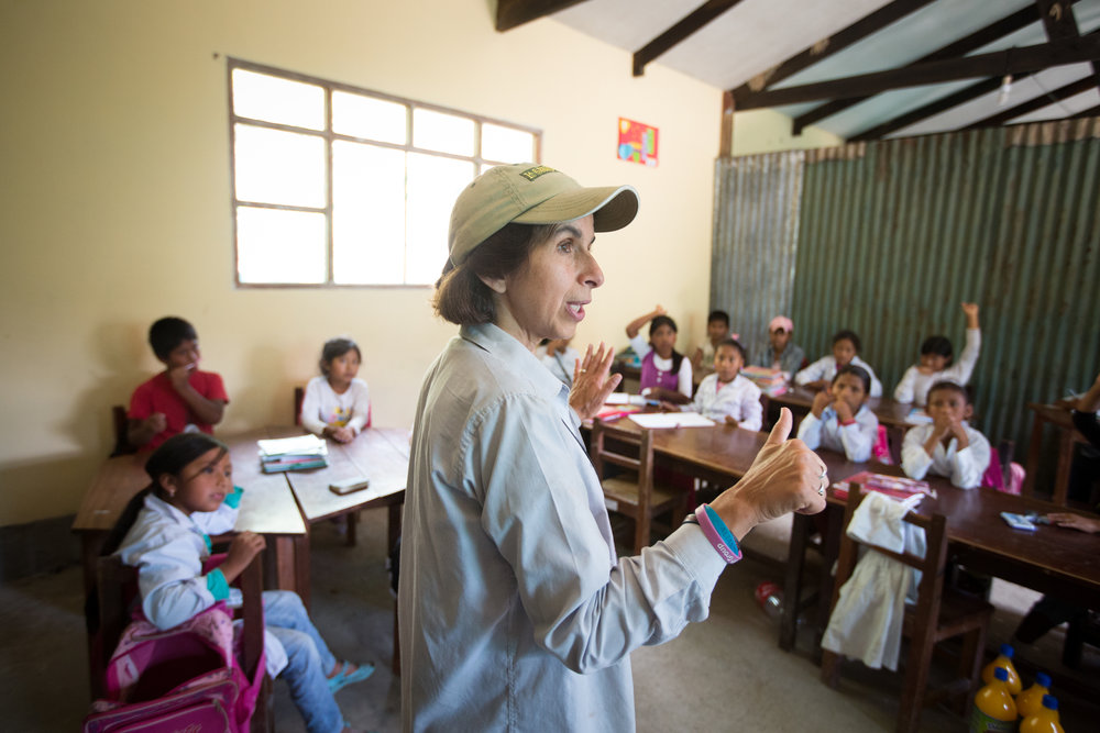 PHOTO: KRISTI ODOM  Vicki Ossio, co-founder of La Senda Verda talks to school children about conservation and wildlife.