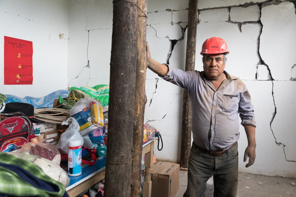 Rogelio Escobar and wife Ernestina Bravo had some parts of his home completely destroyed. Other areas are significantly damaged. They are already assisting with reconstruction. PHOTO: Francisco Alcala Torreslanda