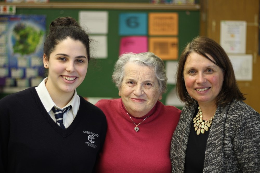 Arielle Meyer, Edith Gelbard, and Alix Doherty. Edith is a Holocaust Survivor and shared her story with the French class, where Alix is the teacher and Arielle a student.                            PHOTOS BY: Scott Masters, Crestwood Preparatory College.