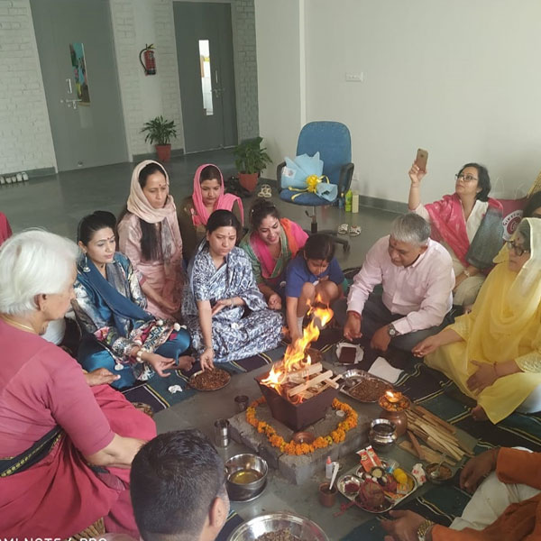 """Havan – A Tradition Held on 15th April 2019 at Tata Primanti - Centuries ago, the Deva - Yagna, Homa or Havan was almost a practice. It was performed early in the morning every single day. Unfortunately, the custom has been forgotten by the new generation.But even in this modern age, The Sixth Element at Tata Primanti. has not forgotten India's rich culture. The Havan is not merely a ritual, but a simple and a healthy process which gives us peace and quiet for a small amount of time, which we are quite unlikely to find.In this great Homa we pray to Agni - the god of fire - to cleanse our body, mind and soul of all sins, to keep our spirits high like Agni.The necessary things of the Hawan are - samagri, ghee, water, camphor and dry faggots. Four girls perform the Hawan, while the rest of us chant along with them. This goes class by class.The Havan was performed on 15 th april 2019. The heat of the fire kills micro-organisms and pollutants in the air. As we all know, hot air moves up and cool breeze follows. When we feed the Agni in the Havan Kund with faggots, ghee, samagri and camphor, it crackles, bursts andthus leaves the atmosphere fresh, clean, cool and fragrant.We started it with the Sandhya, continue with Agni Hotra, which is followed by the Gayathri Mantra and which finally ends with the """"Shanthi Padh"""". This was all done in the presence of our class 1 children and staff."""