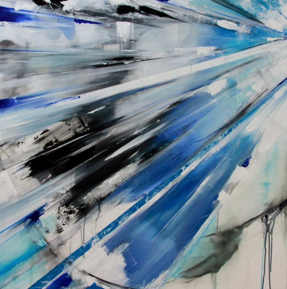 'Blue Icarus'120 x 100 cm acrylic and mix media on canvas