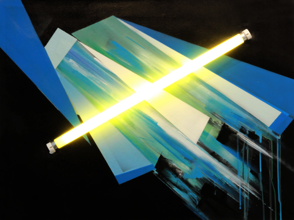 Neon installation & acrylic  painting on canvas 70 cm x 50cm