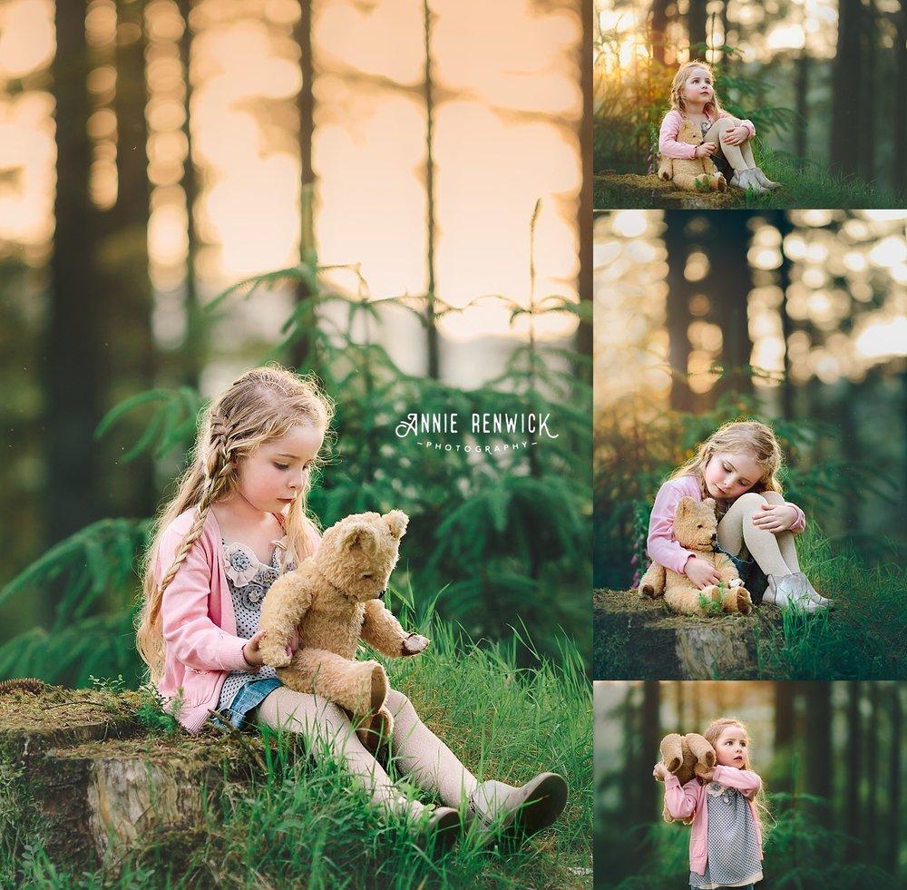 vintage bear girl forest photo session dartmoor devon