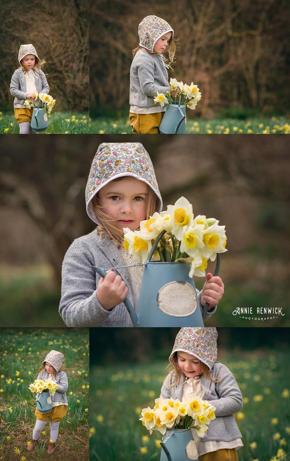 watering can daffodils girl portrait devon