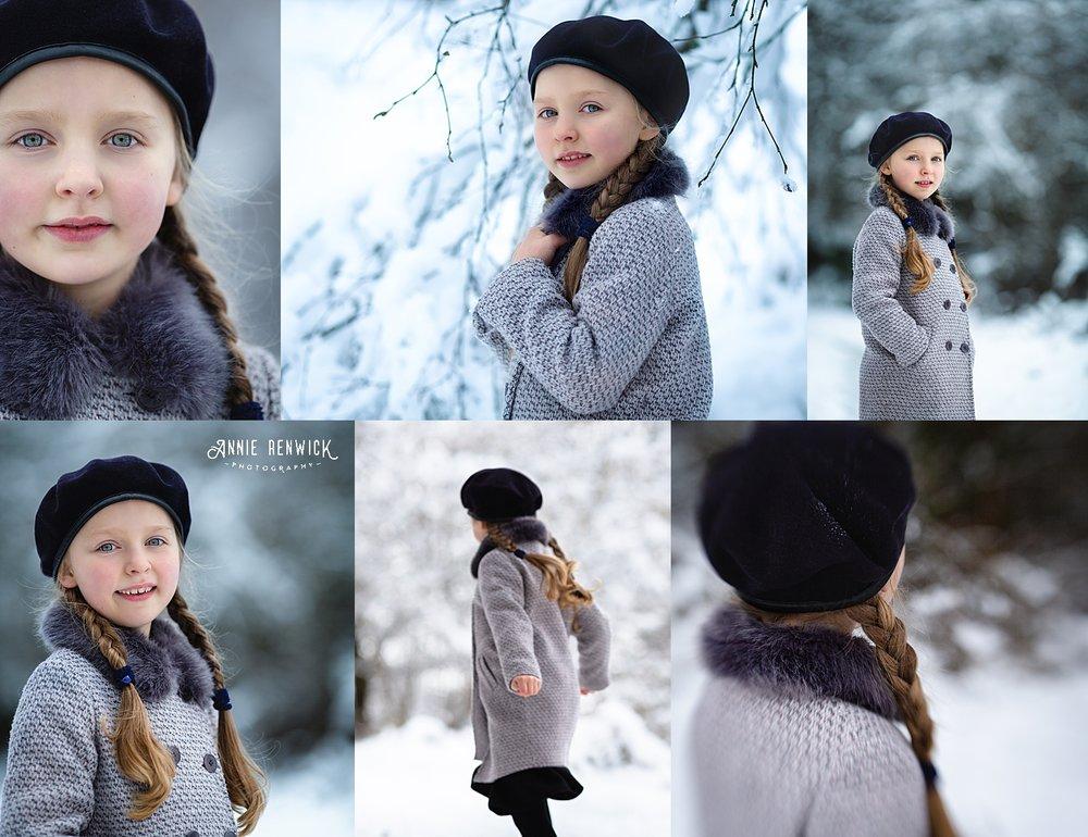 Snow photography winter Devon girl portrait